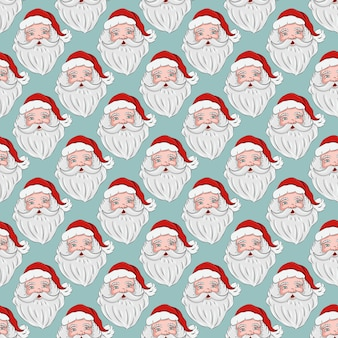 Seamless pattern with a portrait of santa claus concept of new year and christmas