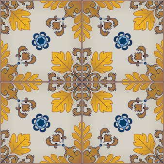 Seamless pattern with portuguese azulejo tiles.