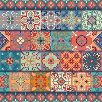 Seamless pattern with portuguese tiles in talavera style.