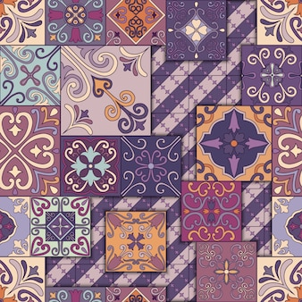 Seamless pattern with portuguese tiles in talavera style