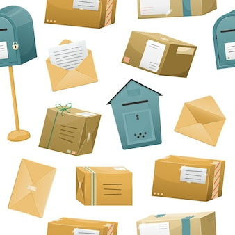 Seamless pattern with postal parceles in a boxes with a delivery address and envelopes