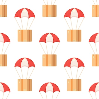 Seamless pattern with postal parcels in boxes with delivery address and envelopes. vector illustration of parachute box print. bright red and white parachutes.