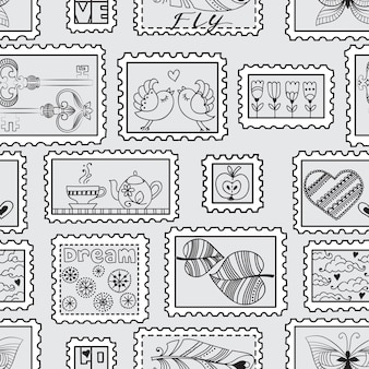 Seamless pattern with postal stamps. seamless stamps hand-drawn pattern. can be used for wallpaper, web page background, wrapping, textile and scrapbook.