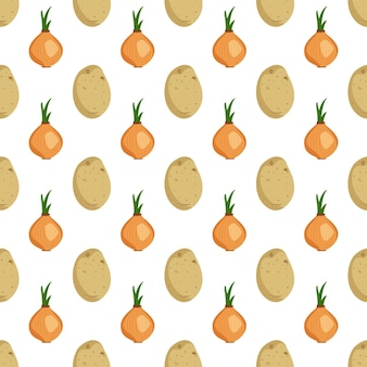 Seamless pattern with potato tubers and onions vegetable harvest print summer or autumn background