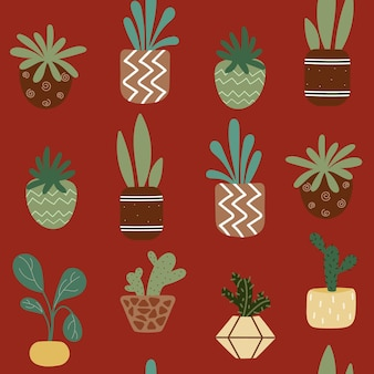 Seamless pattern with potted house plants on a brown background
