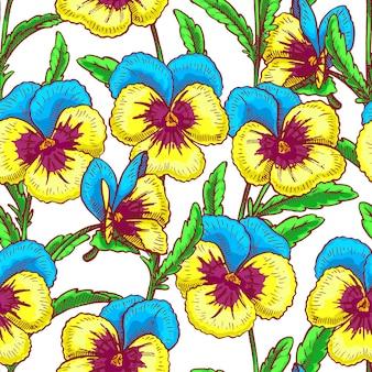 Бесшовный фон с довольно синими и желтыми анютиными глазками. рисованная иллюстрация