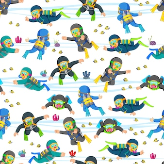 Seamless pattern with professional diving in action