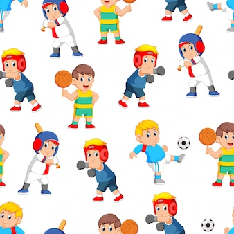 Seamless pattern with professional sports