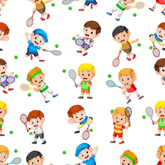 Seamless pattern with professional tennis in action