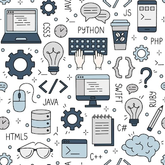Seamless pattern with programming and developers internet and coding