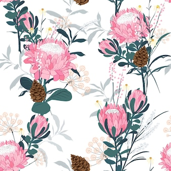 Seamless pattern with protea  flowers vector