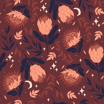 Protea 꽃으로 완벽 한 패턴입니다.