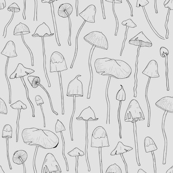 Seamless pattern with psilocybin or hallucinogenic magic mushrooms hand drawn with contour lines on gray