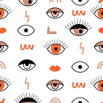 Seamless pattern with psychedelic eyes.