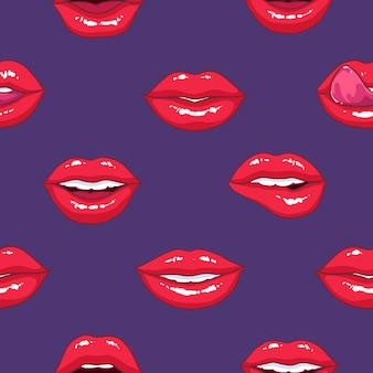 Seamless pattern with puffy female lips, concept of love and passion