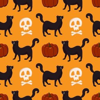 호박, 검은 고양이, 해골이 있는 매끄러운 패턴입니다. 할로윈 축제 가을 장식입니다. 휴일 10 월 배경