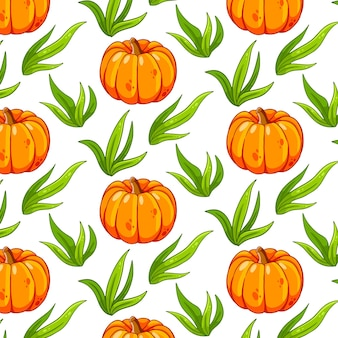 Seamless pattern with pumpkin and grass in a cartoon style for design and decoration