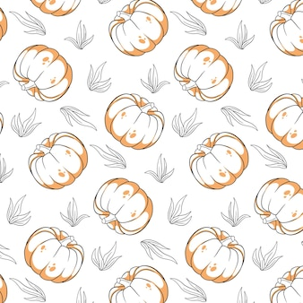 Seamless pattern with pumpkin and grass. in a line style. for design and decoration.