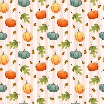 호박, 호두, 잎과 완벽 한 패턴입니다.