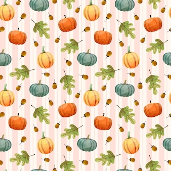 Seamless pattern with pumpkin, walnuts and leaves.