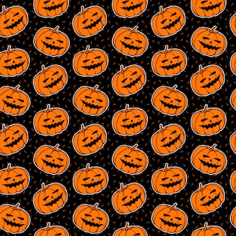 Seamless pattern with pumpkin