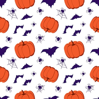Seamless pattern with pumpkins, bats and spiders. halloween party decoration. festive background for paper, textile, holiday and design