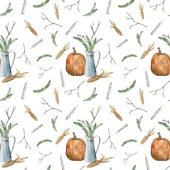 カボチャの枝キャンドルとトウモロコシとのシームレスなパターン