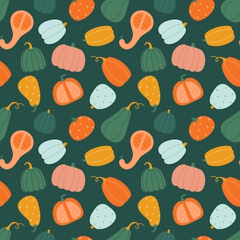 Seamless pattern with pumpkins in flat cartoon style.