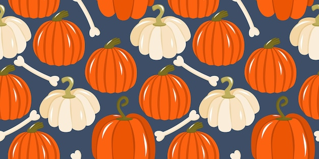 Seamless pattern with pumpkins for halloween pumpkins and squash with bones on a dark background