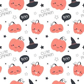 Seamless pattern with pumpkins happy halloween vector illustration