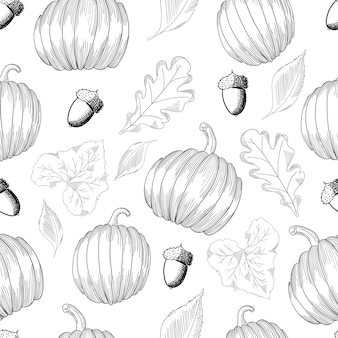 Seamless pattern with pumpkins and leaves and acorns. sketch