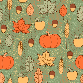 호박, 잎, 밀, 사과와 완벽 한 패턴