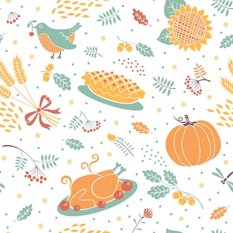 Seamless pattern with pumpkins, leaves, wheat and turkey.