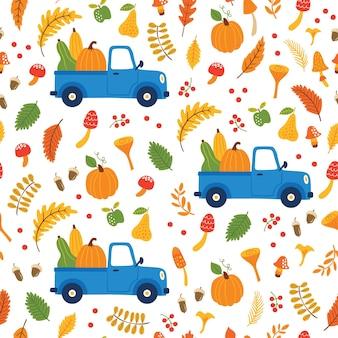 車のカボチャ、落ち葉、秋の花の要素とのシームレスなパターン。