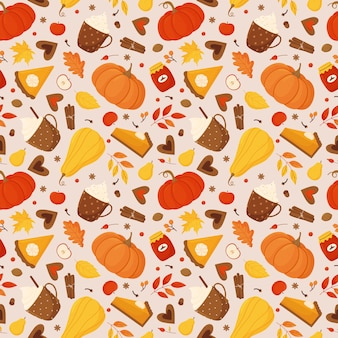 Seamless pattern with pumpkins, pumpkin pie, autumn leaves, berries, spices, cups of cocoa and coffee and jars of jam.
