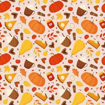 カボチャ、カボチャのパイ、紅葉、ベリー、スパイス、ココアとコーヒーのカップとジャムの瓶とのシームレスなパターン。