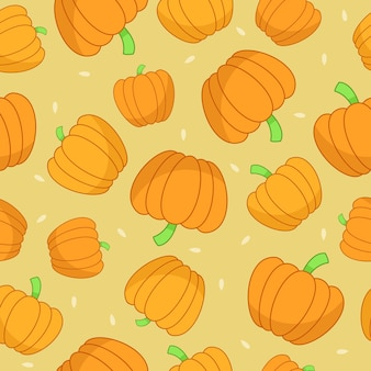 Seamless pattern with pumpkins and seeds.
