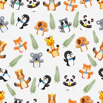 Seamless pattern with puppets wild animal
