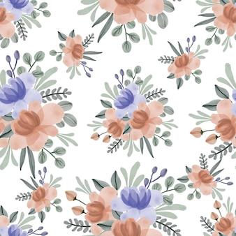 보라색과 주황색 꽃 부케와 완벽 한 패턴
