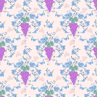 Seamless pattern with purple grapevines