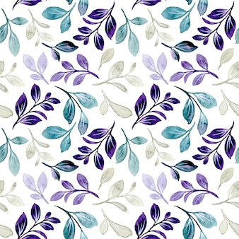Seamless pattern with purple green leaves watercolor