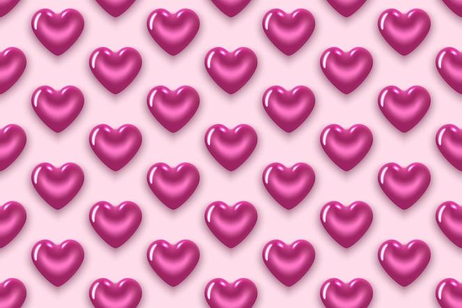 无缝图案与紫色的心。在情人节那天