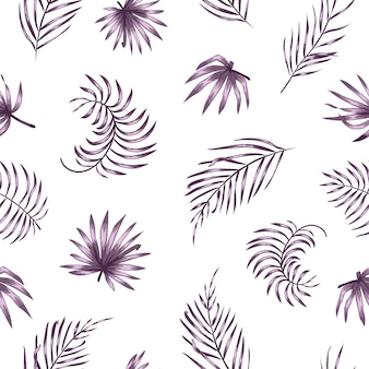 Seamless pattern with purple palm tree leaves
