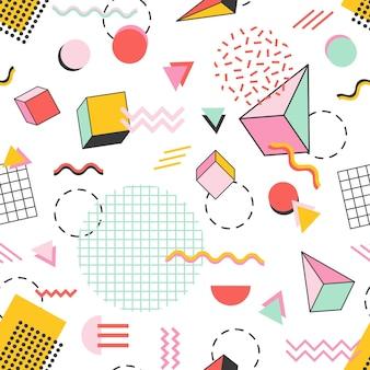 Бесшовный фон с пирамидами, кубами, кругами, другими геометрическими фигурами и зигзагообразными линиями на белом