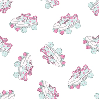 Seamless pattern with quad roller skates on white background.