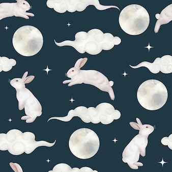 Seamless pattern with rabbit cloud stars and moon mid autumn festival watercolor illustration