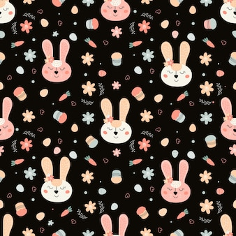 Seamless pattern with a rabbit face cakes eggs willow  vector illustration