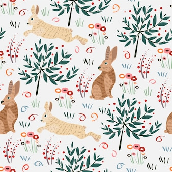Seamless pattern with rabbit.