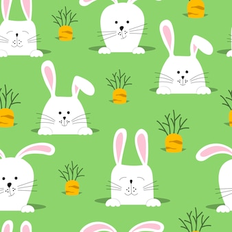 Seamless pattern with rabbits and carrots.