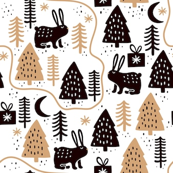 Seamless pattern with rabbits and christmas trees.